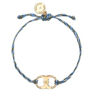 TORY BURCH • Embrace Ambition Braided Tory Gold Blue Slider Bracelet